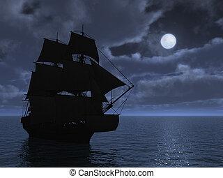 großes schiff, in, mondschein