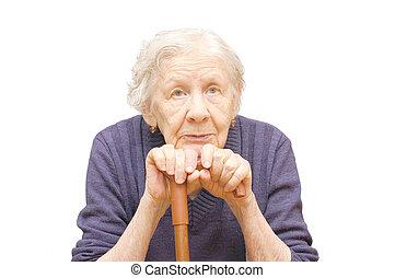 großmutter, besitz, a, krückstock, weiß, hintergrund