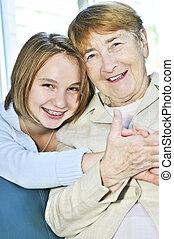 großmutter, enkelin, besuchen