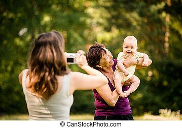großmutter, erinnerungen, kostbar, -, baby