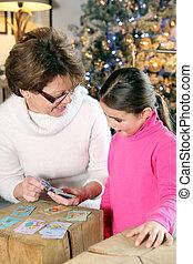 großmutter, karten, spielende , weihnachten, kind