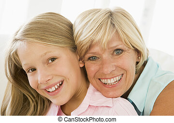 großmutter, lächeln, enkelin