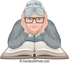 großmutter, lesend buch