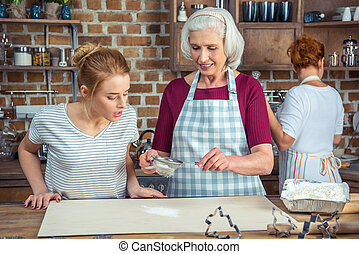 großmutter, mehl, enkelin, sieben