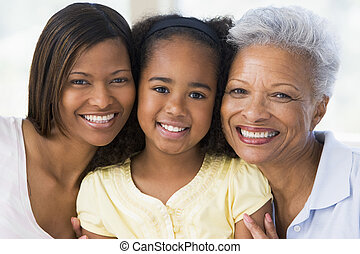 großmutter, mit, erwachsener, töchterchen, und, enkelkind