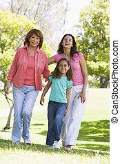 großmutter, mit, erwachsener, töchterchen, und, enkelkind, park