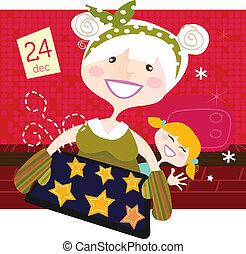 großmutter, mit, weihnachtsgebäck