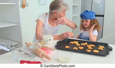 großmutter, und, großartige tochter, stolz