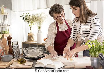 großmutter, unterricht, enkelin, backen, kuchen