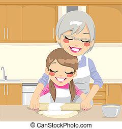 großmutter, unterricht, machen, enkelin, pizza