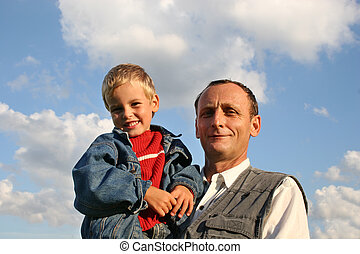 großvater, mit, junge
