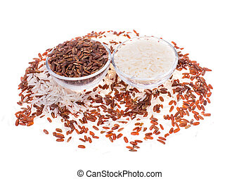 Groats of red and white rice