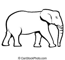 grobdarstellung, elefant