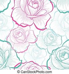 grobdarstellung, farbe, muster, seamless, rosen, vektor, hintergrund, weißes