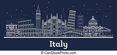 grobdarstellung, gebäude., weißes, stadt, italien, skyline