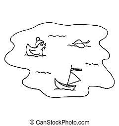 grobdarstellung, skizze, drawing., puddle., abbildung, hand, herbst, hintergrund., vektor, schwarz, monochrom, weißes