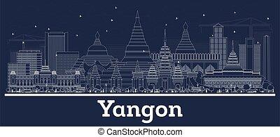 grobdarstellung, skyline, stadt, myanmar, gebäude., weißes, yangon