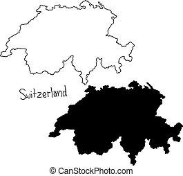 Schweiz Karte Schwarz Weiss.Binarcode Landkarte Freigestellt Stilisiert Vektor