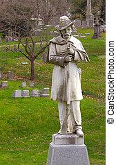 groby, i, pomnik, do, sprzymierzać się, wojsko, kentucky,...