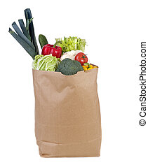 Groceries - A grocery bag full of healthy vegetables and ...