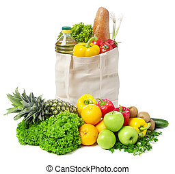 Groceries bag, fruits and vegetables