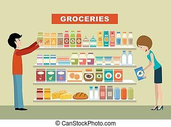groceries., gens, supermarket.