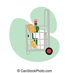 groceries in shopping basket with wheels block style