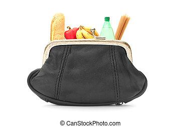 Groceries inside a purse