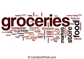 Groceries word cloud concept