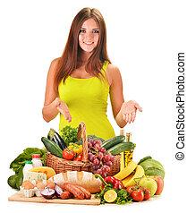 grocery, 여자, 분류된, 고립된, 나이 적은 편의, 제품, 백색