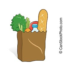 Grocery Bag - Vector illustration of a grocery bag full with...