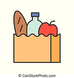 grocery bag, food and gastronomy set, filled outline icon