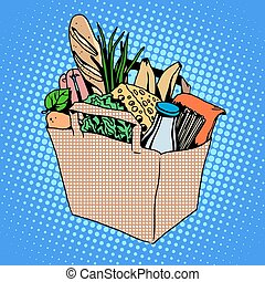 Grocery bag full of food cheese milk bread fruit herbs...