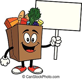A cartoon illustration of a Grocery Bag Mascot.