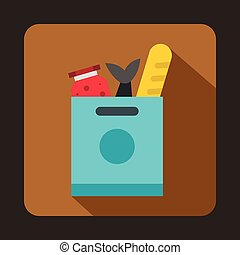 Grocery bag with food icon, flat style