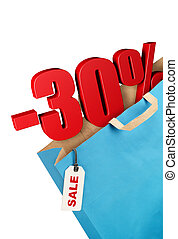 Sale - Grocery bag with thirty percent symbol. Sale concept.