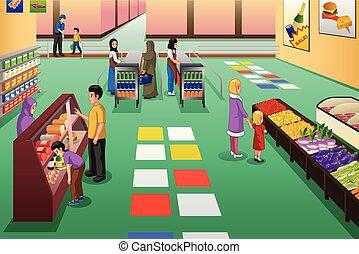 grocery boodschapend doend, winkel, illustratie, mensen