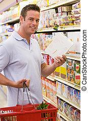 grocery boodschapend doend, winkel, man