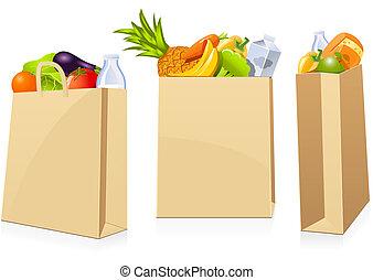 grocery boodschapend doend, zakken