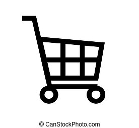 Grocery cart on a white background. Icon.