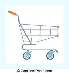 Grocery cart on wheels on a white background sign symbol...