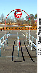Grocery cart return area - photographed empty grocery cart...