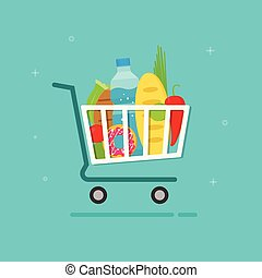 Grocery cart vector illustration, shopping trolley icon with...