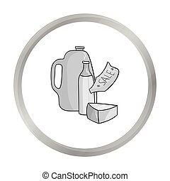 Grocery discount icon in monochrome style isolated on white background. Supermarket symbol stock vector illustration.