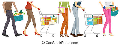 Lower Body of People Doing Grocery Shopping with Clipping Path