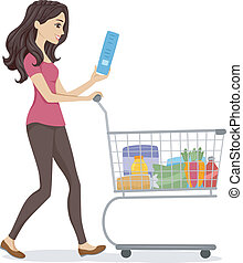 Grocery Girl - Illustration of a Woman Pushing a Cart Filled...