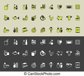grocery icons vector set - grocery icons for food...