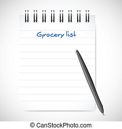 grocery list notepad illustration design over a white...