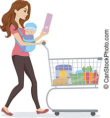 Grocery Mom - Illustration of a Woman Doing Some Grocery...