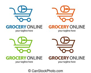 Grocery online logo. Supermarket delivery. Fresh food sign.  Fast Shopping concept vector. Four color mode.
